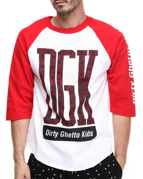 Ur-ID 216362 DGK - Men Red,White Crackle 3/4 Sleeve Raglan Tee