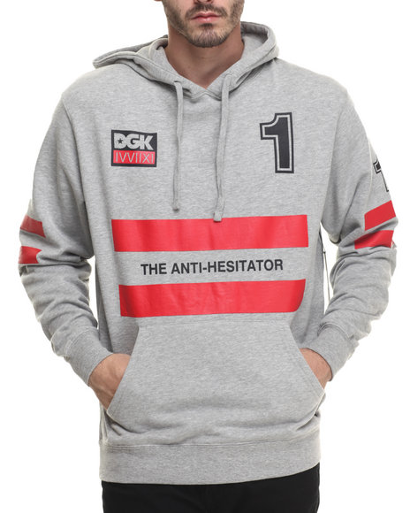 Ur-ID 216374 DGK - Men Grey Anti Hesitator Pullover Fleece Hoodie