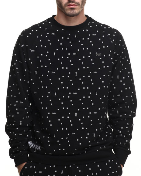 Ur-ID 216388 DGK - Men Black Digi Dot Crew Fleece Sweatshirt