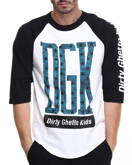 Dgk - Men Black,White Crackle 3/4 Sleeve Raglan Tee