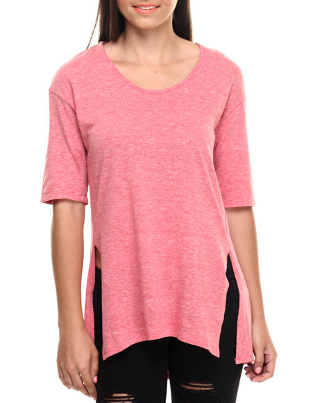 Fashion Lab - Women Red Inner Beauty Tee W/Hi Slit Detail