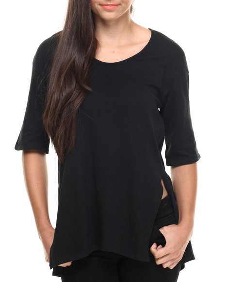 Fashion Lab - Women Black Inner Beauty Tee W/ Hi Slit Detail - $5.99