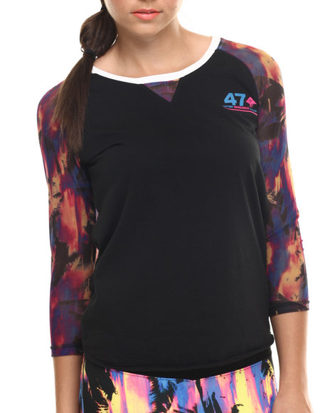Lrg - Women Black Acid Palm Baseball Scoopneck