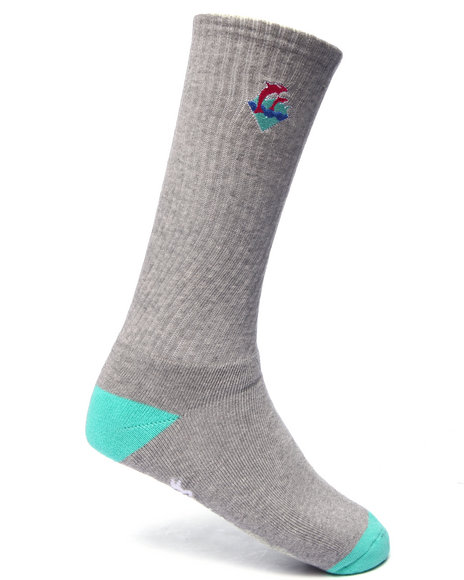Pink Dolphin Men Waves Signature Logo Socks Grey
