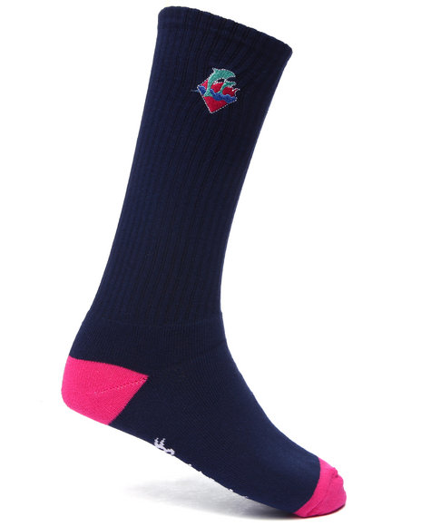 Pink Dolphin - Men Navy Waves Signature Logo Socks