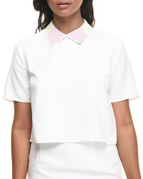 Ur-ID 216477 Street Style - Women White Candy Box Top W/Collar