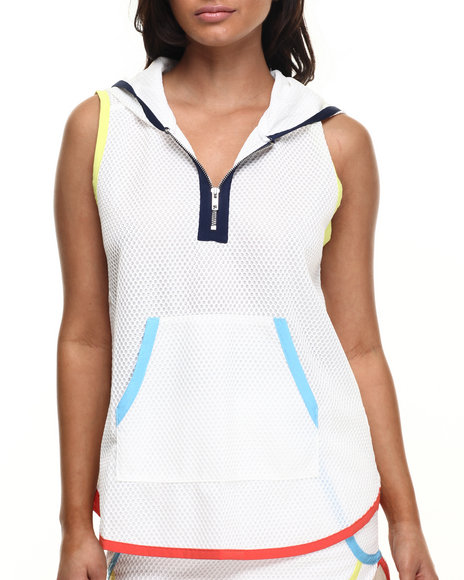 Street Style - Women White Spartan Mesh Short Sleeve Hoodie W/Zipper Detail