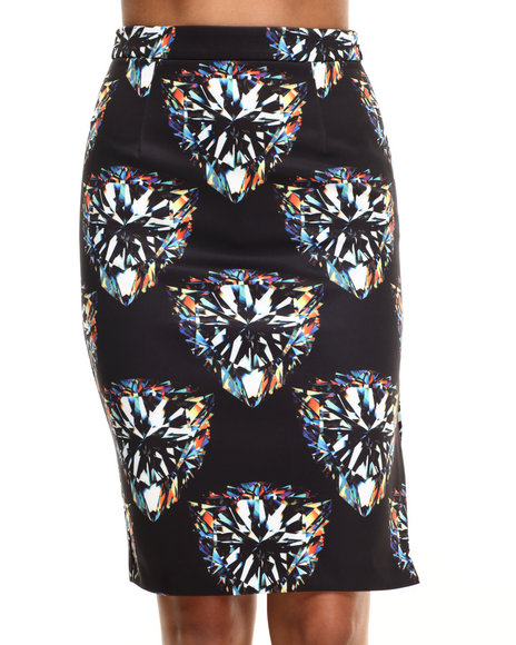 Street Style - Women Multi Diamond Forever Midi Skirt