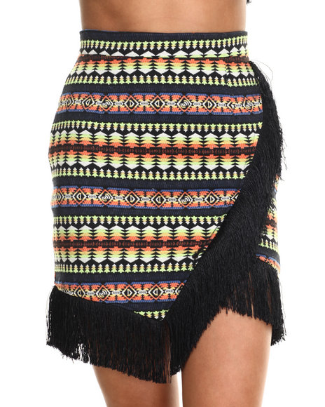 Street Style - Women Multi Temple Skirt W/Fringe