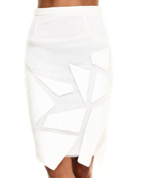 Ur-ID 216492 Street Style - Women Off White Pop Art Skirt W/Mesh Detail