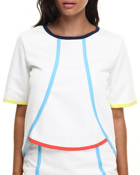 Ur-ID 216500 Street Style - Women White Spartan Mesh Top W/Color Block Details