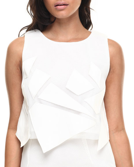 Ur-ID 216504 Street Style - Women Off White Pop Art Top W/Mesh Detail