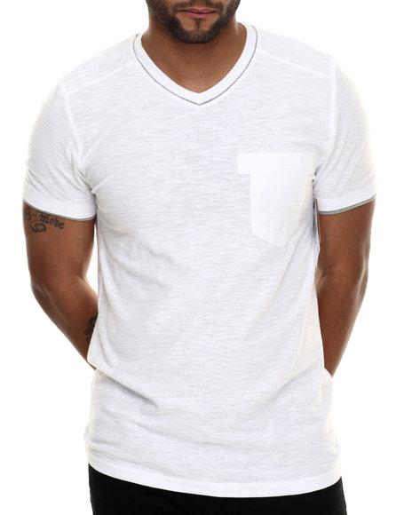 Buyers Picks - Men White Double Layer V-Neck S/S Tee - $8.99
