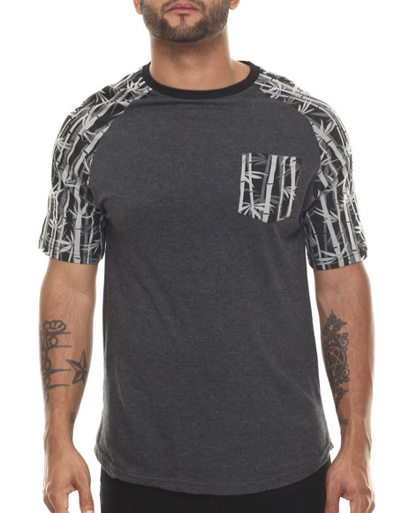 Buyers Picks - Men Black Bamboo Print Raglan S/S Tee