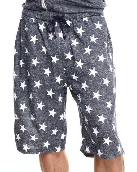 Buyers Picks - Men Navy French Terry All Over Star Print Heather Shorts