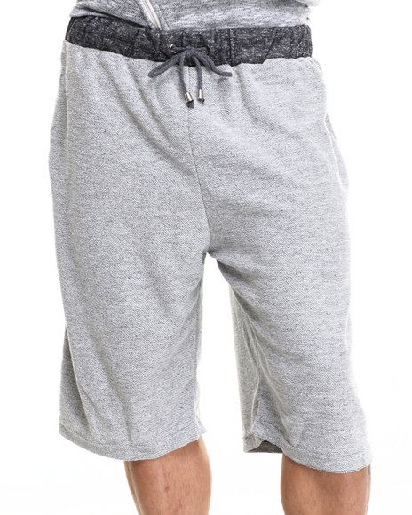 Buyers Picks - Men Grey French Terry Drawstring Heather Shorts