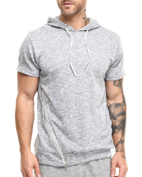 Buyers Picks - Men Grey French Terry Knit Pullover S/S Hoody (Side Zip Detail)