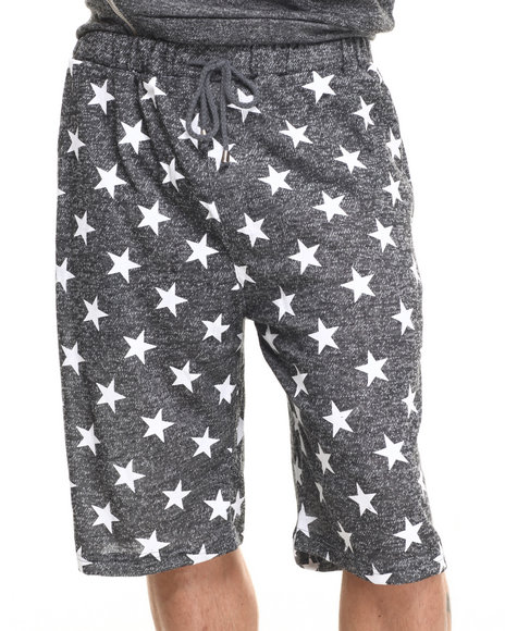Buyers Picks - Men Black French Terry All Over Star Print Heather Shorts - $30.00