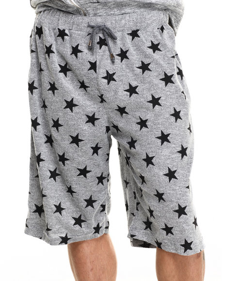 Buyers Picks - Men Grey French Terry All Over Star Print Heather Shorts