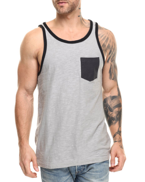 Buyers Picks - Men Grey Double Layer Tank Top