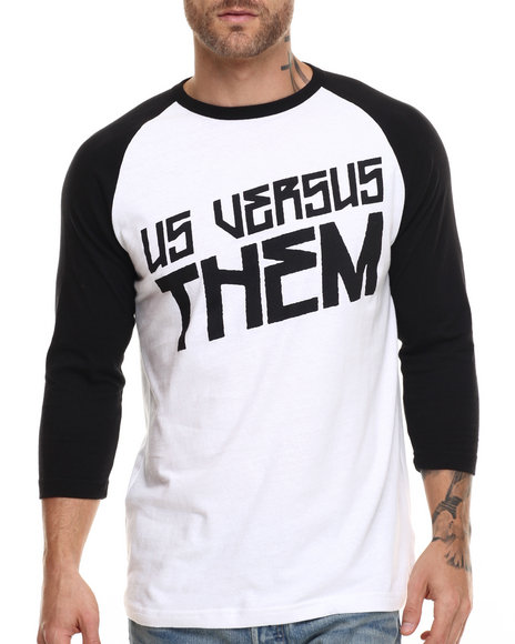 Us Versus Them - Men Black,White San Andreas Raglan Tee