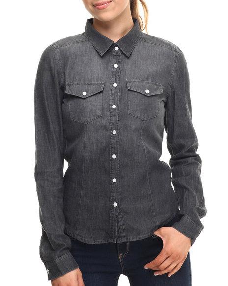 Ur-ID 215259 ALI & KRIS - Women Charcoal Denim Western Shirt