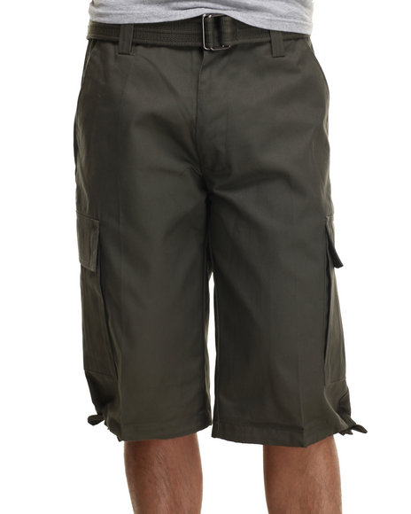 Buyers Picks - Men Olive Army Belted Cargo Short