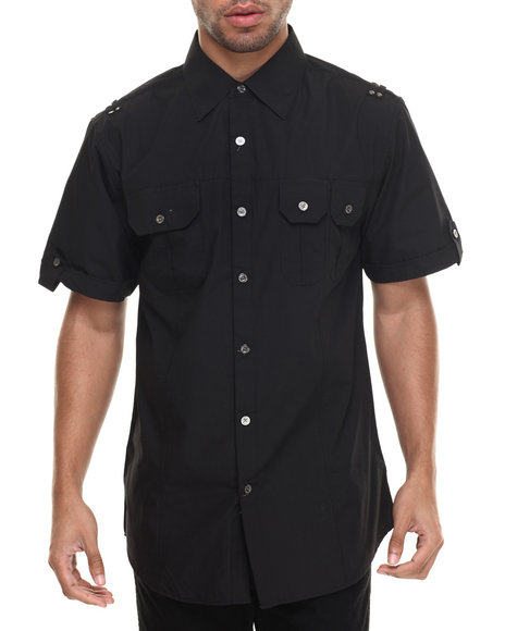 Ur-ID 216328 Buyers Picks - Men Black Basic Solid S/S Button-Down