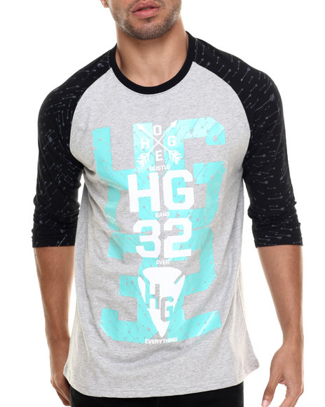 Hustle Gang - Men Black,Grey Foliage Raglan Tee
