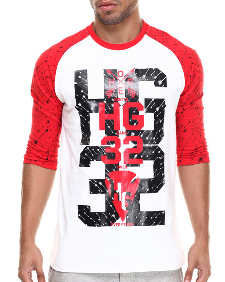 Hustle Gang - Men Red,White Foliage Raglan Tee