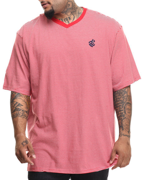 Ur-ID 216562 Rocawear - Men Red Micro Stripe S/S V-Neck Tee (B&T)