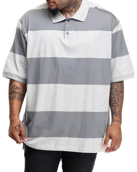 Ur-ID 216571 Rocawear - Men Grey Fabric-Block Polo (B&T)
