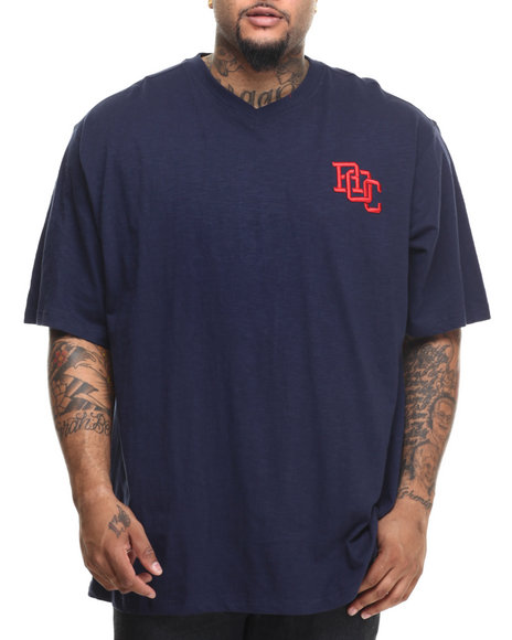 Rocawear - Men Navy Slub S/S V-Neck Tee (B&T) - $27.99