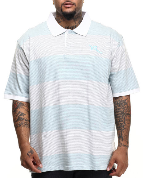 Rocawear - Men Light Blue,White Striped Polo (B&T)