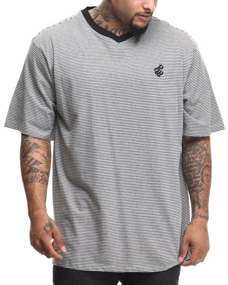 Rocawear - Men Grey Micro Stripe S/S V-Neck Tee (B&T) - $40.00