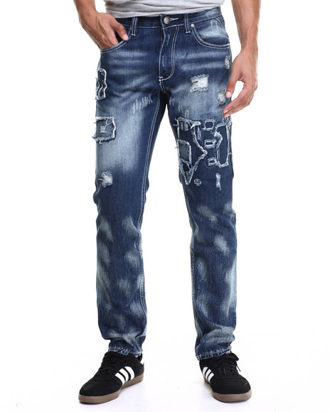 Ur-ID 216640 Heritage America - Men Medium Wash Distressed Denim Jeans