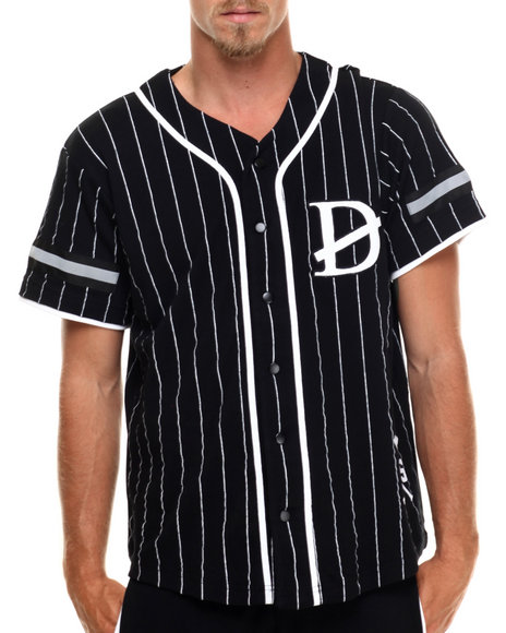 Ur-ID 216690 Buyers Picks - Men Black Pin Stripe Hyroglifics Detail Baseball Jersey