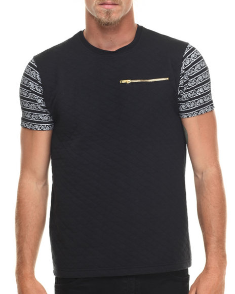 Ur-ID 216695 Well Established - Men Black Quilted 2-Tone S/S Tee