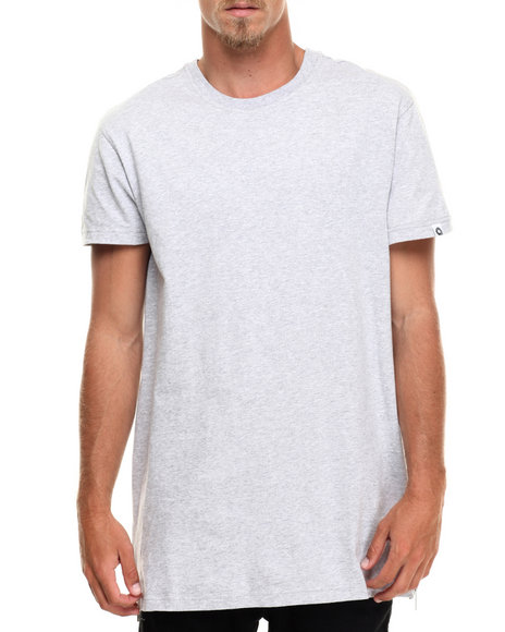 Akademiks Men Harlem E-Longated Fashion Tee (Side Zip Detail) Light Grey Medium