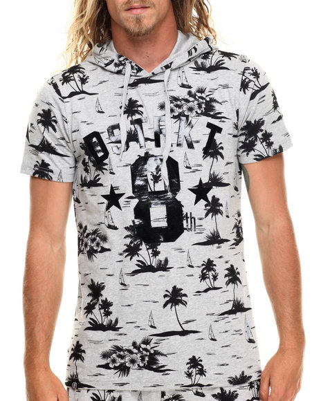 Buyers Picks - Men Grey Palm Tree Print S/S Hoody Tee