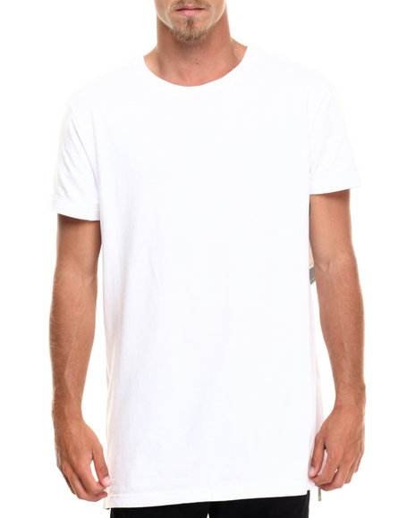 Akademiks - Men White Harlem E-Longated Fashion Tee (Side Zip Detail)