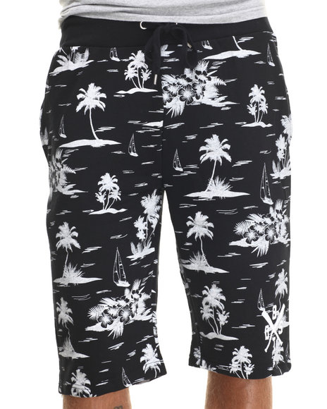 Buyers Picks - Men Black Palm Tree Print Drawstring Shorts