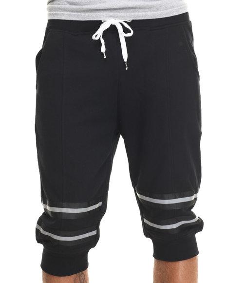 Buyers Picks - Men Black 3M Reflective Drawstring Jogger Shorts
