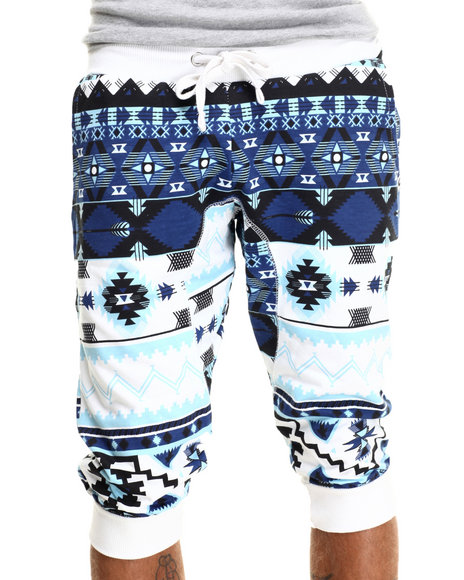 Akademiks - Men Blue,White Quan Print Jogger Short - $10.99
