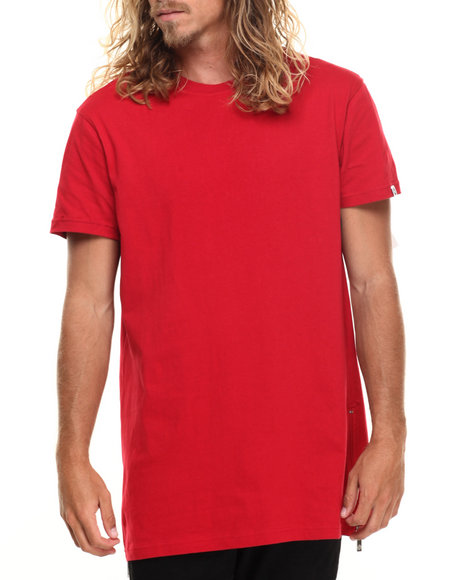 Akademiks - Men Red Harlem E-Longated Fashion Tee (Side Zip Detail)
