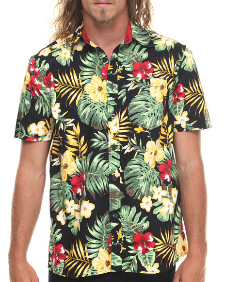 Akademiks - Men Black Kane Tropical Allover Print S/S Button Down Shirt
