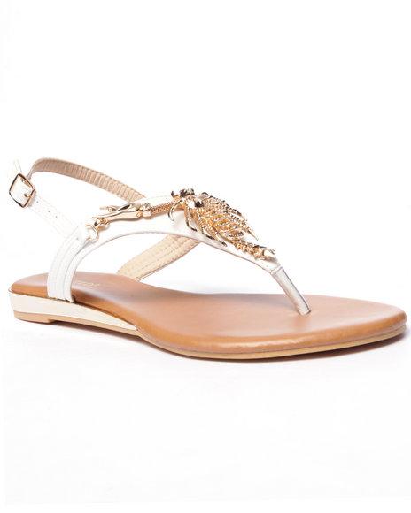 Ur-ID 216715 Fashion Lab - Women White Maine Claw Strap Sandals
