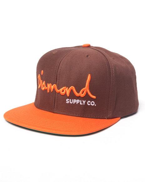 Ur-ID 223134 Diamond Supply Co - Men Brown Diamond Script Snapback Hat