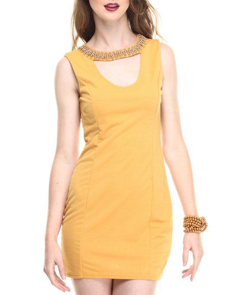 Ur-ID 216778 Fashion Lab - Women Yellow Sleeveless Scoop Neck Bodycon Dress