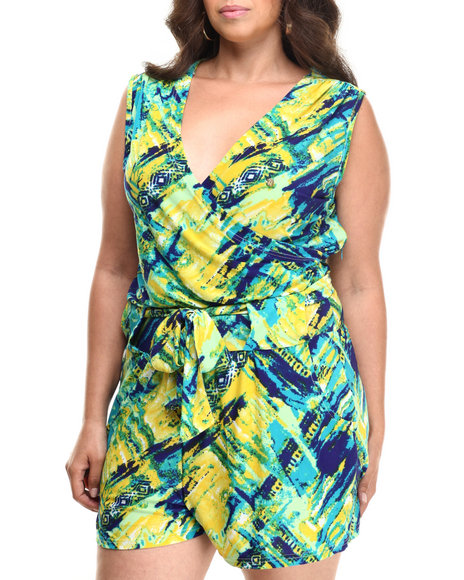 Apple Bottoms - Women Blue,Multi Allover Printed Knit Romper (Plus)
